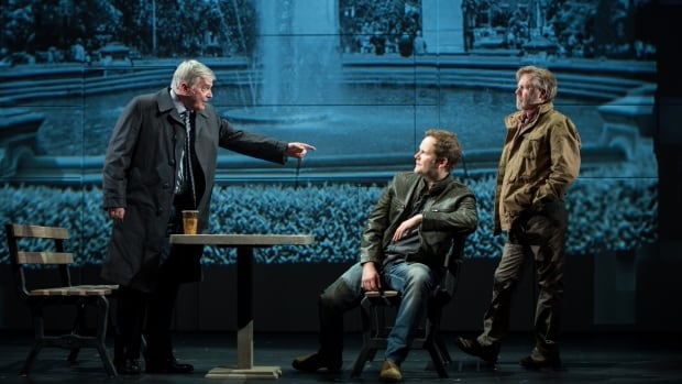 Ross McMillan, Evan Buliung and Doug McKeag in RMTC's production of Chimerica, a gripping geopolitical thriller.