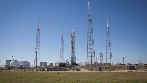 The rocket was scheduled to launch at 6:46 p.m. ET.