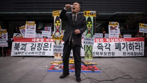 An anti-North Korea activist shouts slogans during a protest Monday in Seoul, South Korea.
