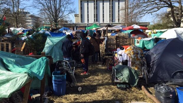 Homeless campers in Victoria staged a block party at the tent city in defiance of a Feb. 25 deadline to leave the area.
