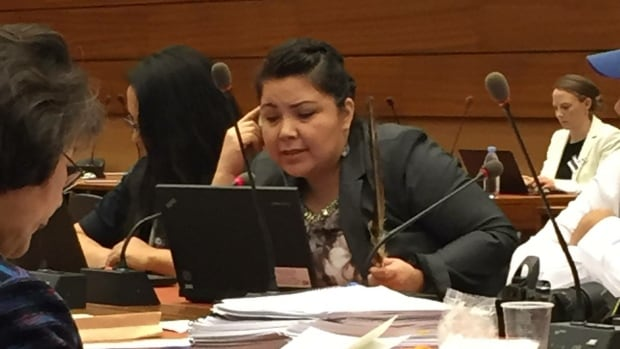 Teala Nadjiwon from Batchewana First Nation gets ready to make her presentation to the United Nations in Geneva.