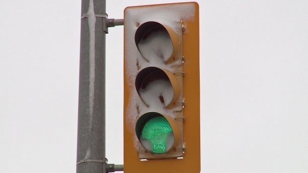 Old incandescent bulbs would have melted snow off this traffic light, say City of Windsor officials.