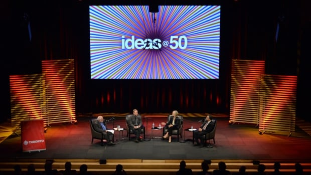 The Next 50 Years event in the Glenn Gould Studio. IDEAS host Paul Kennedy on stage with panelists Evan Fraser, Jennifer Keesmaat, and Payam Akhavan.
