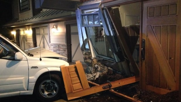 Kim Cattrall tweeted this picture Tuesday, claiming a 16-year-old driver crashed into her home at 1 a.m. while joy riding.