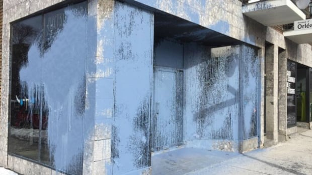 The Electrik Kidz boutique had almost its entire façade covered in paint.