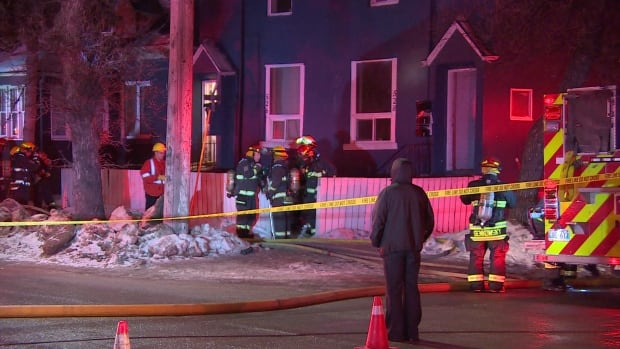 Fire crews battled a blaze at a home in the area of Juno Street and McDermot Avenue Friday night.
