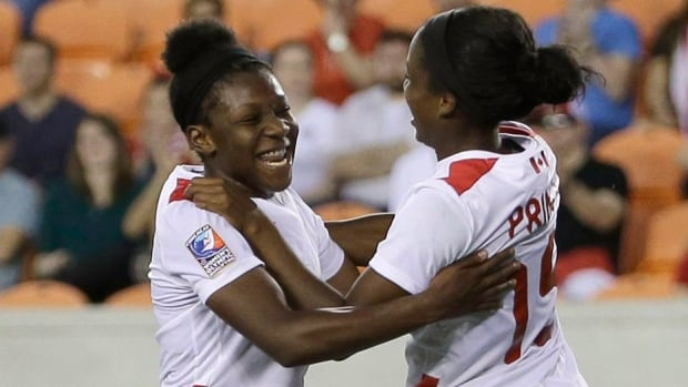 Deanne Rose, left, and Nichelle Prince will lead the Canadian women's soccer team into next month's Algarve Cup in Portugal. Coach John Herdman's roster for the March 2-9 tourney includes 19 of the 20 players who finished runner-up at the recent CONCACAF Women's Olympic Championship in Houston. Canada, ranked 11th in the world, will open Group A play Wednesday against No. 15 Denmark.