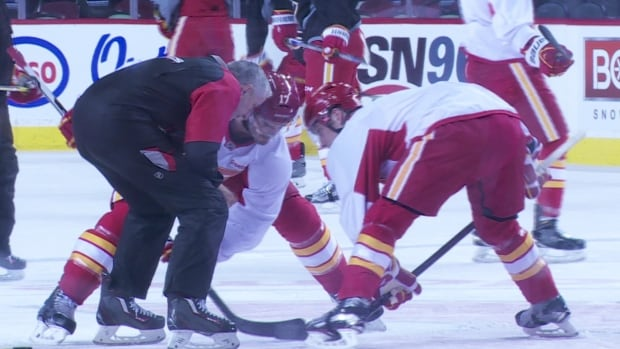 The Calgary Flames hosted an equipment drive Saturday morning.