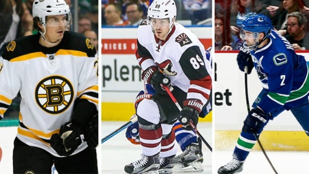 These are just a few of the NHLers that are likely to be moved before the NHL Trade Deadline, Monday, Feb. 29 at 3 P.M. ET. From left to right: Loui Erikkson (BOS), Mikkel Boedker (ARI), Dan Hamhuis (VAN), Eric Staal (CAR).