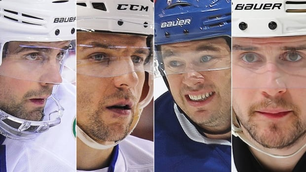 From left, Canucks defenceman Dan Hamhuis, Canucks forward Radim Vrbata, Maple Leafs forward P.A. Parenteau and Flames defenceman Kris Russell are all eligible for unrestricted free agency July 1 but could have new hockey addresses prior to Monday's 3 p.m. ET trade deadline.