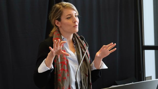Federal Heritage Minister Melanie Joly announces funding for Yukon cultural organizations at a news conference in Whitehorse Saturday.