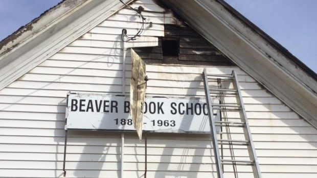 Part of the former schoolhouse's exterior was damaged in the fire, but fire officials say the worst of the damage was on the inside.