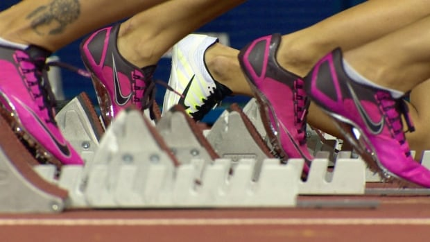 Russian women sprinters in the starting blocks
