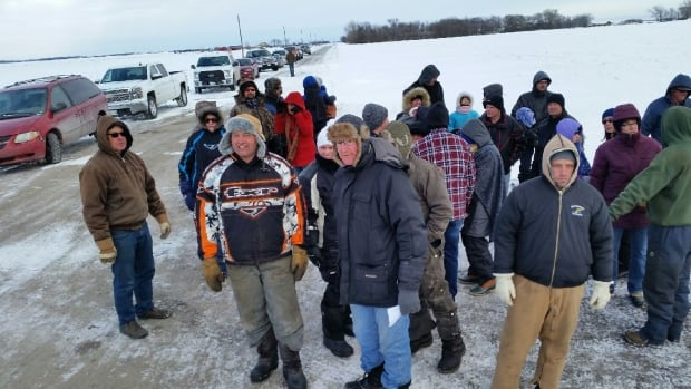 A group of about 30 farmers and landowners held a demonstration east of Highway 206 over the weekend. They say Manitoba Hydro has failed to negotiate terms with property owners over construction of the Bipole III transmission line.