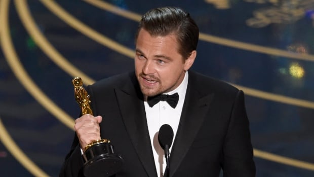 Leonardo DiCaprio accepts the award for best actor in a leading role for 'The Revenant' at the Oscars on Sunday at the Dolby Theatre in Los Angeles.
