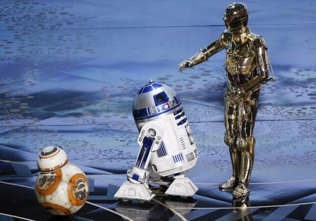 2016 Oscars Star Wars characters on stage