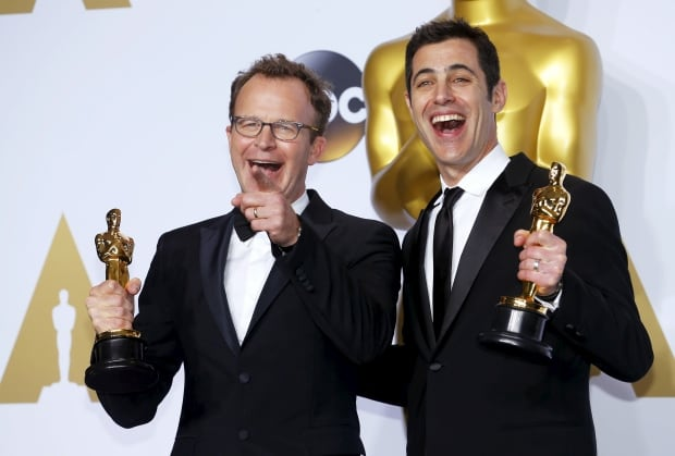Academy AWARDS-Spotlight screenplay winners Tom McCarthy and Josh Singer