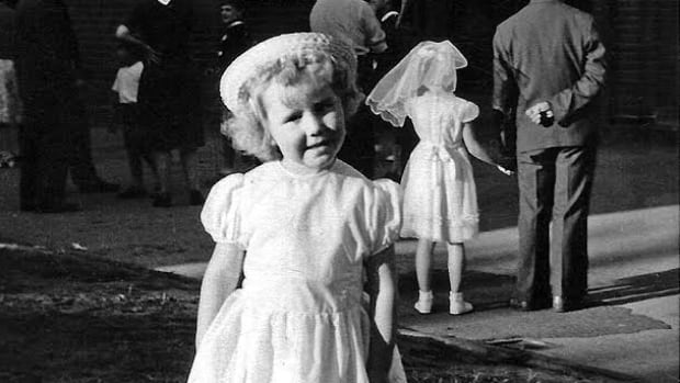 Phyllis Whitsell, author of My Secret Mother, age 6, at church after she was adopted.  Even though Phyllis was told her mother died of tuberculosis, she never believed it and felt the need to solve the mystery of her birth parents.