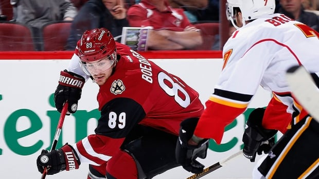 Mikkel Boedker, left, was traded by the Coyotes to Colorado on Monday. The six-foot, 206-pound Boedker, a pending unresticted free agent, had 13 goals and 39 points in 62 games this season with Arizona. He has appeared in 20 post-season contests, posting four goals and nine points.