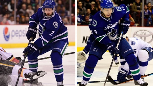 Both Daniel Hamhuis (left) and Radium Vrbata (right) were considered great trade bait for the Vancouver Canucks. Neither player was dealt before the deadline, to the dismay of most of the Canucks fanbase.