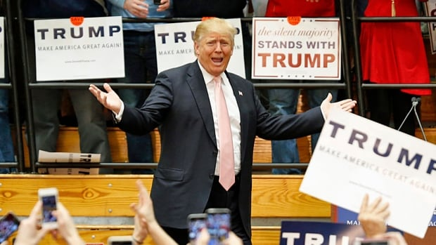 Republican presidential candidate Donald Trump at a rally at Radford University in Radford, Va., downstate from Monticello, on Monday. The Republican hopeful is expecting to do well on Super Tuesday.