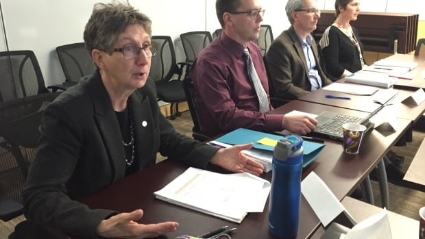 Debbie Delancey, left, deputy minister of N.W.T.'s Department of Health and Social Services, and Perry Heath, centre, the department's director of infrastructure planning, discuss a report on options for long-term care infrastructure in the territory.