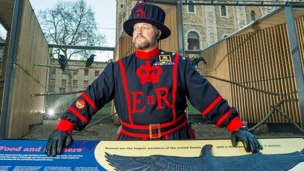 Ravenmaster Chris Skaife stands proudly in front of the newly renovated raven habitat at the Tower of London. A project two years in the making, the structure gives the public better access to the legendary birds.