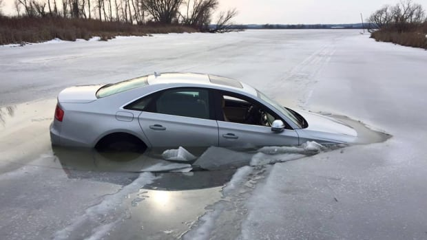 A car sank into Cook's Bay, the southernmost bay of Lake Simcoe, in Keswick, Ont. on Sunday. No one was injured. York Regional Police say no ice is ever completely safe.