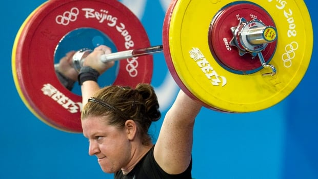 Jeane Lassen of Whitehorse competes in the women's 75kg weightlifting final at the Beijing 2008 Summer Olympics.