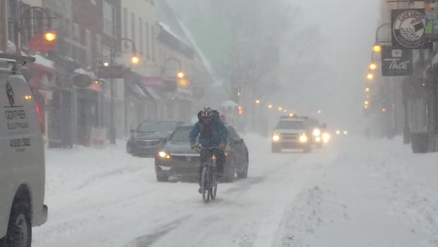 Quebec City is being hit hard by the storm early this morning, as a powerful low-pressure system from the central U.S. moves east from Ontario.