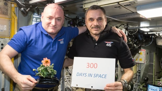 Space station one-year mission crew members Scott Kelly (left) and Mikhail Kornienko of Roscosmos celebrated their 300th consecutive day in space on Jan. 21, 2016. They spent a total of 340 days in space during the mission.