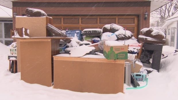Goods belonging to Nikki Wilson and her partner were left on the driveway of a stranger's house in Ottawa on Tuesday night.