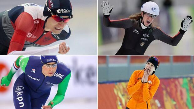 Clockwise: Speed skaters Martina Sablikova, Ivanie Blondin, Sven Kramer and Irene Wust will battle for medals at this weekend's world allround championships in Berlin.