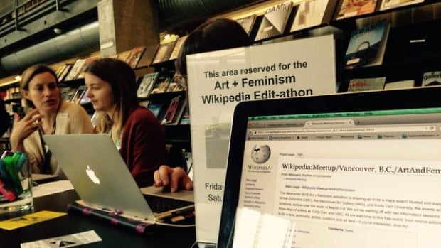 Carolyn Jack tweeted this photo from last year's Art + Feminism edit-a-thon in Vancouver. This month, the organization will hold its third annual edit-a-thon, and people all over the world will meet up to increase coverage of women in the arts on Wikipedia.