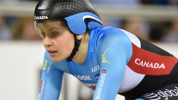 Canada's Annie Foreman-Mackey takes bronze in the women's individual pursuit final during the 2016 track cycling world championships at the Lee Valley VeloPark in London, England.