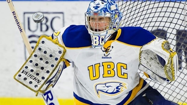 UBC goalie Danielle Dube, a 40-year-old full-time firefighter and mother of two, has led the Thunderbirds all the way to the Canadian Interuniversity Sport championship game.