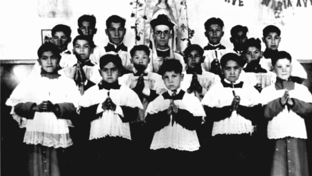 A group of Altar Boys at St. Anne's Indian Residential School circa 1945 in Fort Albany, Ont.  Some former students have been fighting for years for proper compensation under the Indian Residential Schools Settlement Agreement.