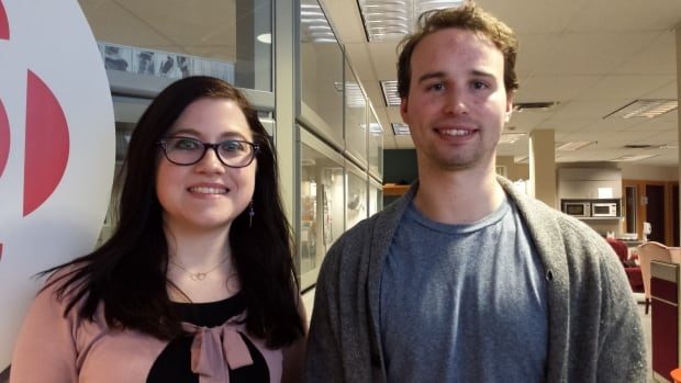 Staci Smith, left, and David Rennie are two of the law students from the University of Calgary who are teaching teens what consent looks like from a legal perspective.
