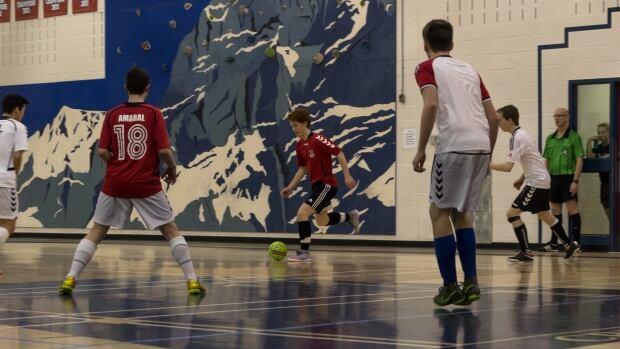 Yukon's junior boys team practices futsal before leaving for Nuuk, Greenland.