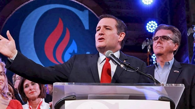 Texas Senator Ted Cruz reacts to the Super Tuesday results at a campaign rally in Houston on March 1. His supporters promise he will govern with a Bible in one hand and the Constitution in the other.