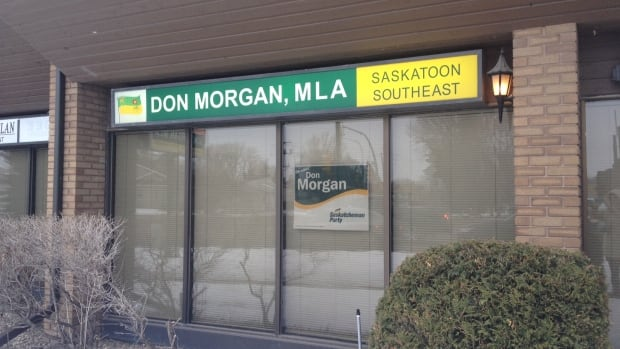 Saskatchewan Party MLA Don Morgan said he is going to remove the constituency office sign from this site in Saskatoon. Elections Saskatchewan said no rules were broken.