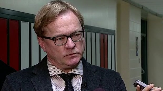 Education Minister David Eggen speaks to reporters about upcoming contract negotiations with teachers.