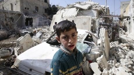 Douma neighbourhood of Damascus damaged Feb 27 2016