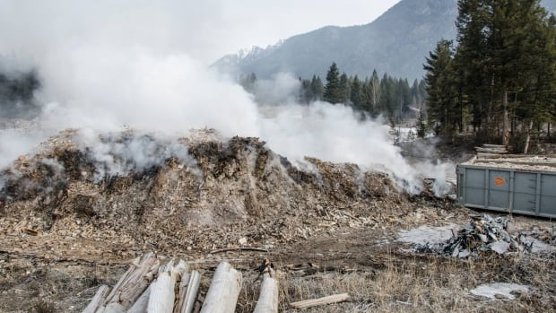 A pile of demolition waste burned for five days in Radium Hot Springs, causing a smoke advisory and forcing some residents from their homes.