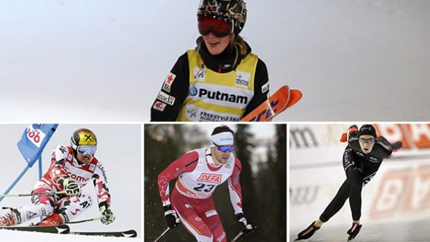 Justine Dufour-Lapointe, top, aims for an elusive Crystal Globe win, while (from bottom left to right) Marcel Hirscher, Alex Harvey and Ivandie Blondin will also be featured on this weekend's Road to the Olympic Games on CBC Television and cbcsports.ca.