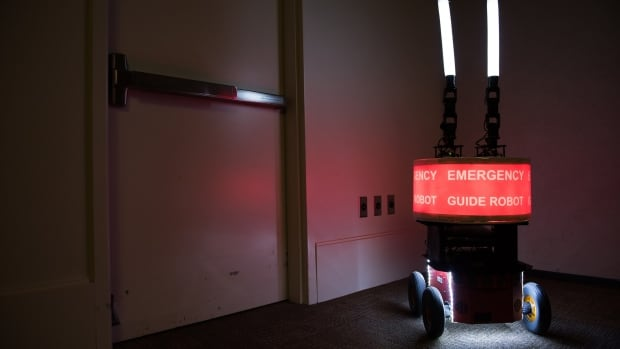 """Georgia Tech researchers built the """"Rescue Robot"""" to determine whether or not building occupants would trust a robot designed to help them evacuate a high-rise in the case of fire or other emergency."""