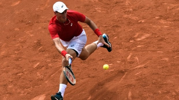 Canada's Vasek Pospisil was defeated in straight sets in his Davis Cup tie against France's Gilles Simon on Friday.