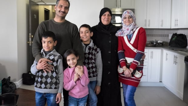 The Matar family arrived from Jordan, where they had been living as refugees from the Syrian civil war, more than a month ago and finally moved into their new home in Mississauga, Ont., on March 4, 2016. From left, Mohammed, 9, Mosbah, Hala, 6, Jehad, 11, Maysa and Jaya, 16.