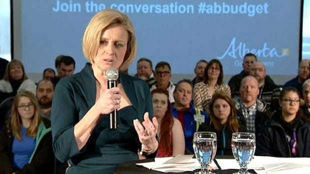 """""""We are not going to restore the price of oil by laying off teachers, by laying off nurses,"""" Alberta Premier Rachel Notley told a town hall meeting in Fort McMurray Friday."""