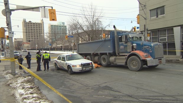 Jarvis Street was closed Friday afternoon after a female pedestrian was struck and killed near Queen Street.